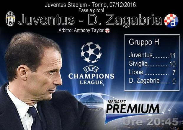 Juventus-Dinamo Zagabria diretta tv, probabili formazioni Champions League 7-12