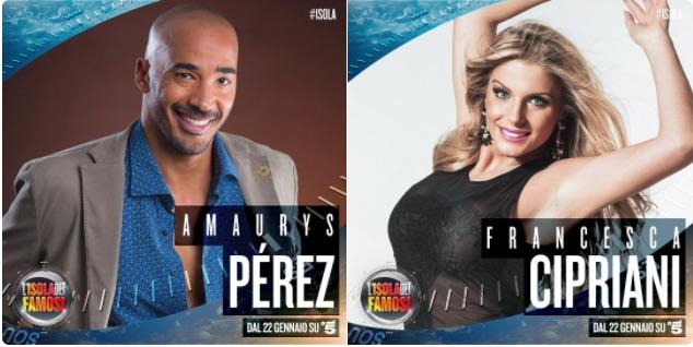Amaury Perez e Francesca Cipriani naufraghi