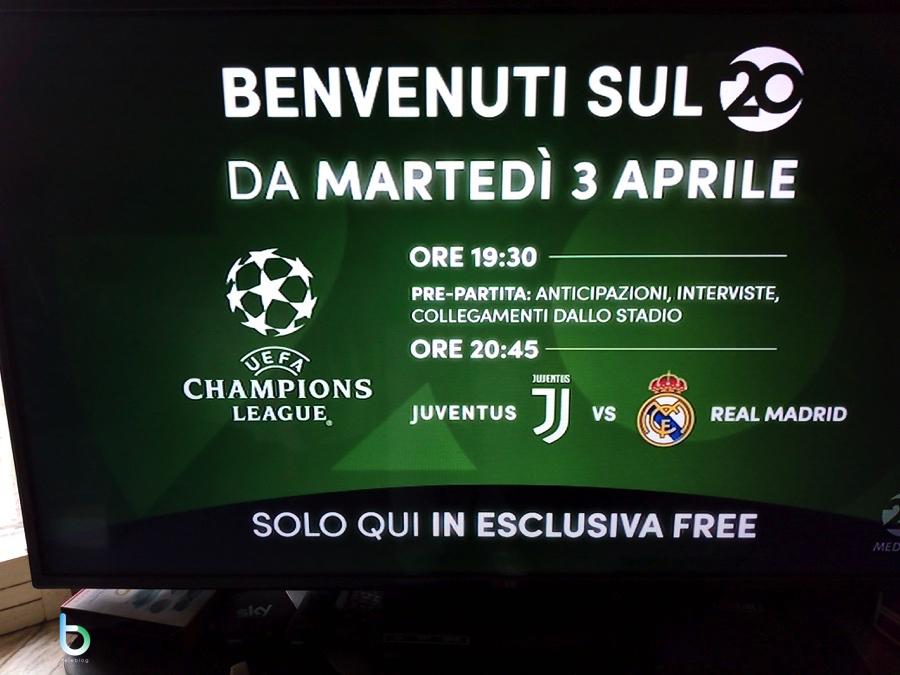 Canale 20 di Mediaset: partenza il 3 aprile con Juventus-Real Madrid in esclusiva