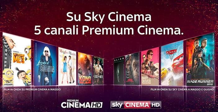 Sky Cinema, sono arrivati i canali Premium Cinema: offerta ancora più ricca