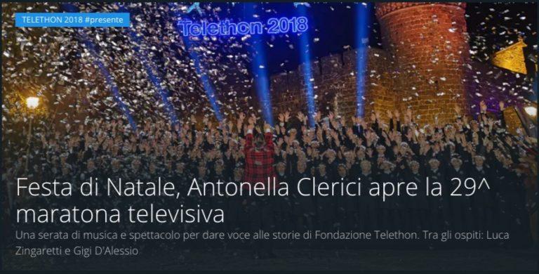 Ascolti tv 15 dicembre: prima serata vinta da Festa di Natale – Telethon