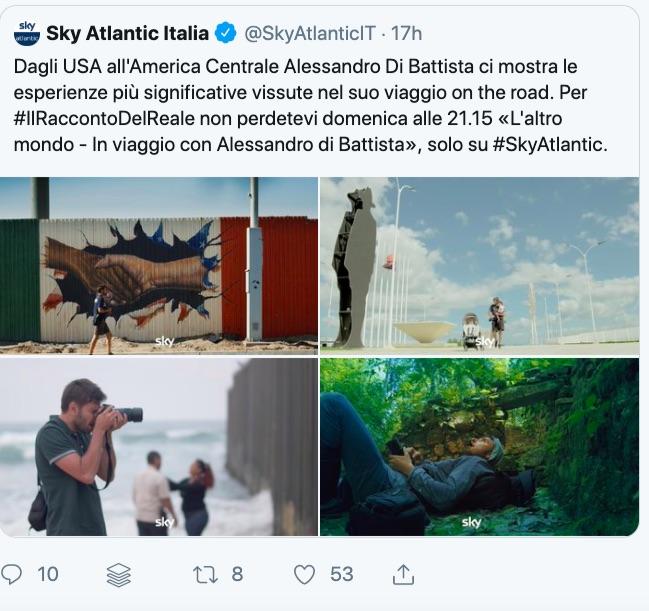 Sky Atlantic pubblicizza il documentario di Alessandro Di Battista: su Twitter minacce di disdetta