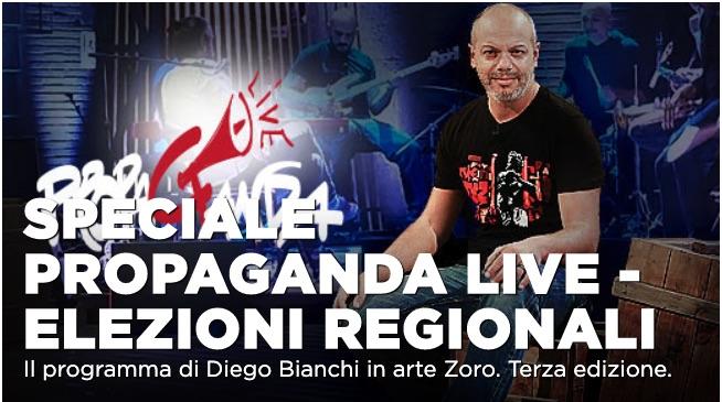 Propaganda Live Speciale Elezioni Regionali: Andrea Pennacchi, Gipi e Salvatore Marino in studio