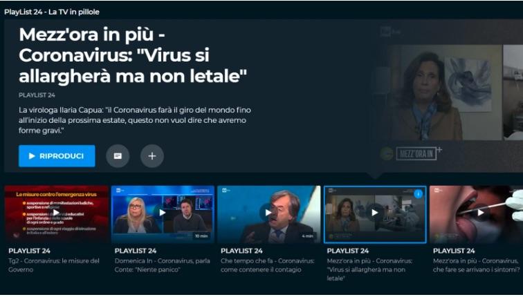 PlayList24 la tv in pillole su Rai Play