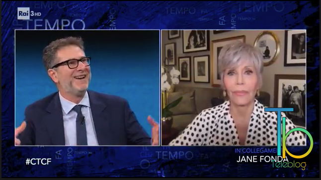 Jane Fonda a Che tempo che fa: attacco a Trump e incontro Greta Thunberg