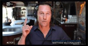 Matthew McConaughey a Che tempo che fa con Fazio dalla sua roulotte